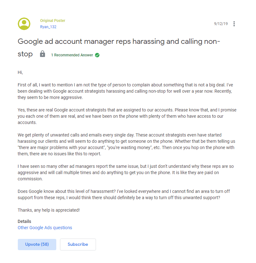 google reps harassing clients