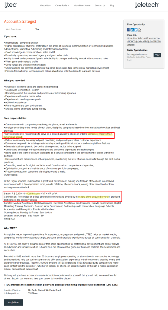 Google ad rep job description